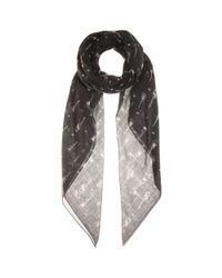 Saint Laurent - Black Printed Wool Scarf - Lyst