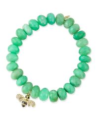 Sydney Evan | Green Chrysoprase Beaded Bracelet With Diamond Bee Charm | Lyst