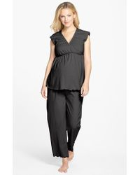 Japanese Weekend | Black Maternity/nursing Crop Pajamas | Lyst