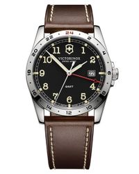 Victorinox - Brown 'infantry' Leather Strap Watch for Men - Lyst
