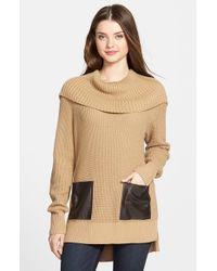 MICHAEL Michael Kors | Brown Faux Leather Pocket Cowl Neck Sweater | Lyst