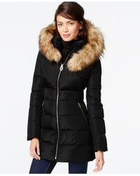 Ivanka Trump | Black Faux-fur-trim Layered Down Coat | Lyst