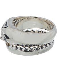 Undercover | Metallic Silver Top Half Skull Twinned Rings for Men | Lyst