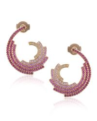 Ruifier | Metallic Rose Gold Ruby Wave Earrings | Lyst