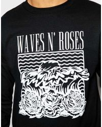 Pink Dolphin - Black Long Sleeve T-shirt With Wave N Roses Print for Men - Lyst