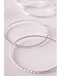 Missguided - Metallic Mixed Hoop And Stud Set Silver - Lyst