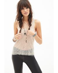 Forever 21 - Natural Embroidered Faux Pearl Top - Lyst