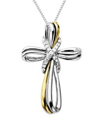 Lord & Taylor | Metallic Sterling Silver Necklace With 14kt. Yellow Gold And Diamond Cross Pendant | Lyst