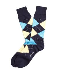 Brooks Brothers | Black Argyle Crew Socks for Men | Lyst