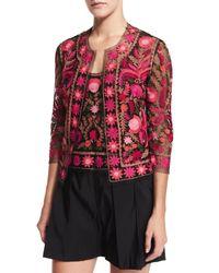 Naeem Khan - Multicolor Embroidered Silk 3/4-sleeve Jacket - Lyst