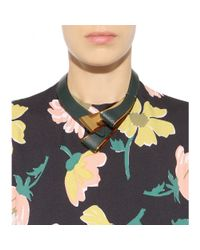 Marni - Gray Leather And Metal Necklace - Lyst