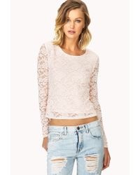 Forever 21 | Pink Sweet Lace Top | Lyst