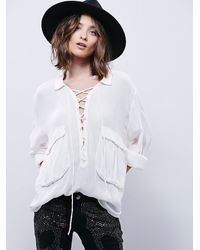 Free People | White Fp One Womens Robin Lace Up Top | Lyst