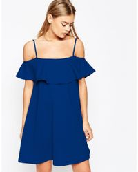 ASOS | Blue Swing Dress With Cold Shoulder And Ruffle Detail | Lyst