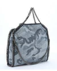 Stella McCartney - Pale Blue Camouflage Print Canvas 'falabella' Chain Tote - Lyst