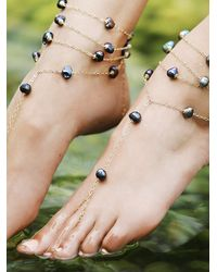 Free People - White Ariel Pearl Anklet - Lyst