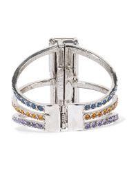 Oscar de la Renta - Purple Silver-tone Crystal Bracelet - Lyst