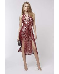 TOPSHOP | Red Silk Tie Dress | Lyst