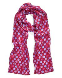 Echo - Pink Textured Dots Skinny Silk Scarf - Lyst