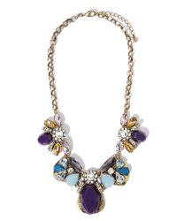 Forever 21 - Purple Clustered Faux Stone Statement Necklace - Lyst