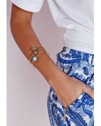 Missguided | Blue Charm Bracelet Three-Pack Set Gold | Lyst