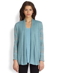 Eileen Fisher - Linen Shadowstripe Open Cardigan - Lyst