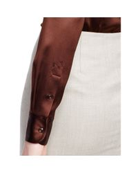 Ralph Lauren Black Label - Brown Rachel Stretch-silk Shirt - Lyst