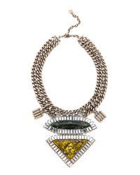 DANNIJO - Metallic Evangeline Necklace - Silver/Italian Olivine - Lyst