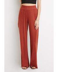 Forever 21 - Red Wide-leg Smocked Pants - Lyst