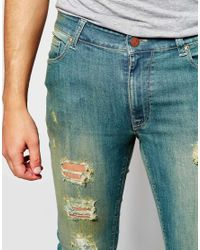 ASOS - Blue Extreme Super Skinny Jeans With Extreme Rips for Men - Lyst