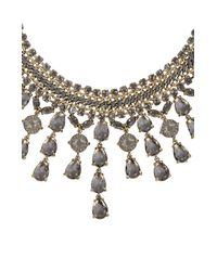BCBGMAXAZRIA - Gray Corded Gemstone Necklace - Lyst