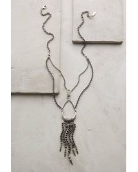 Anthropologie - Gray Chained Crescent Necklace - Lyst