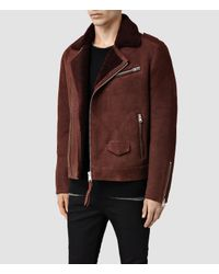 AllSaints - Brown Reeve Shearling Biker Jacket for Men - Lyst