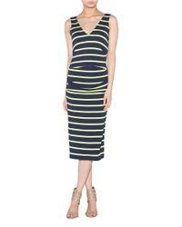 Nicole Miller - Blue Striped Tea Length Dress - Lyst
