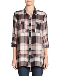 Bobeau | Black Plaid Roll Sleeve Tunic | Lyst