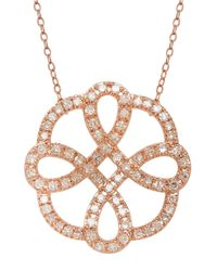 Lord & Taylor | Pink 14kt Rose Gold And Diamond Necklace | Lyst