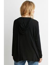 Forever 21 - Black Dropped-sleeve Drapey Hoodie You've Been Added To The Waitlist - Lyst