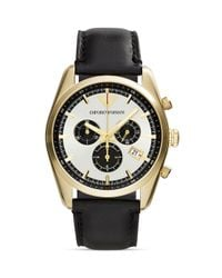 Emporio Armani - Gold-tone & Black Chronograph Watch, 42.5mm for Men - Lyst