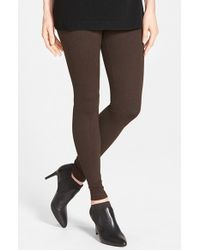 Lyssé | Brown Seamed Ponte Knit Control Top Leggings | Lyst