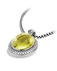 David Yurman - Metallic Dy Signature Oval Pendant With Diamonds - Lyst
