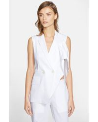 Theory | White 'jala C' Sleeveless Linen Blend Blazer | Lyst