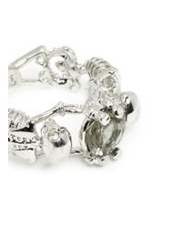Alexander McQueen - Metallic Skeleton Crystal Ring - Lyst