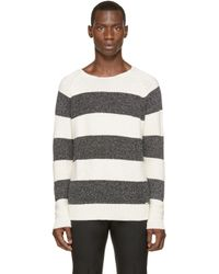 DIESEL - White And Grey K_wylde Sweater for Men - Lyst