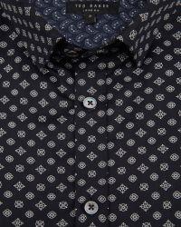 Ted Baker | Blue Belgym Printed Shirt for Men | Lyst