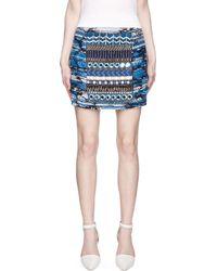 Matthew Williamson   Black Blue and Gold Embroidered Taj Tapestry Mini Skirt   Lyst