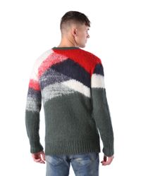 DIESEL | Green Colour Block Sweater for Men | Lyst