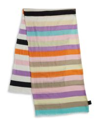 Lord & Taylor | Pink Striped Fringe Scarf | Lyst