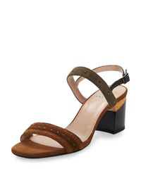 Lanvin - Black City Studded Suede Sandals - Lyst