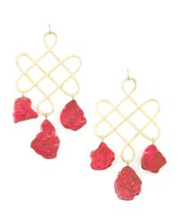 Devon Leigh | Red Howlite Drop Earrings | Lyst