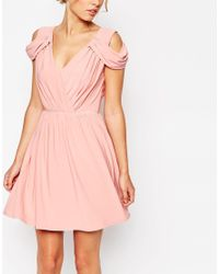 ASOS | Pink Wedding Drape Cold Shoulder Mini Dress | Lyst
